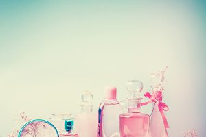 Cosmetic products in pastel color