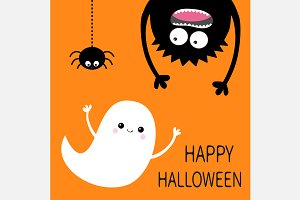 Happy Halloween Monster Ghost Spider