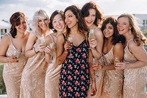 Hindu bride with her bridesmaids