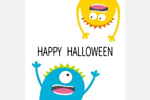 Happy Halloween. Colorful monsters.