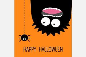 Happy Halloween Monster head Spider