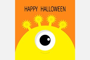 Happy Halloween. Yellow monster head