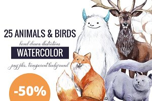 25 watercolor animals and birds