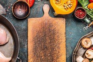 Pumpkin dish cooking background