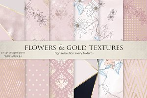Watercolor Flowers & Gold Textures
