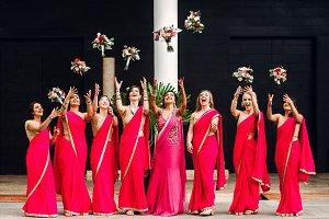 Indian bride and bridesmaids through