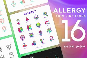 Allergy | 16 Thin Line Icons Set