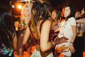 Hindu bride with henna tattoos dance