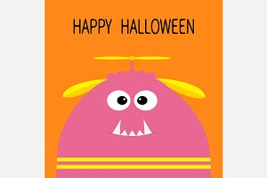 Funny monster head. Happy Halloween