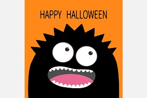 Happy Halloween. Black monster head.
