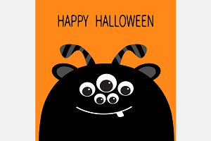 Happy Halloween. Cute black monster