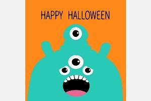 Happy Halloween. Monster green head.
