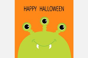 Happy Halloween. Cute green monster