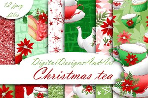 Christmas tea digital paper