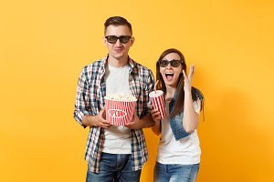 Young funny couple woman man in 3d g