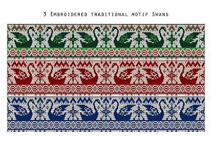 Embroidered traditional motif Swans