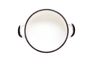 Empty white old enamel pan isolated