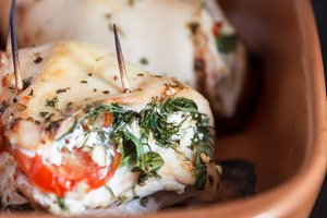 Baked poultry fillet stuffed with so
