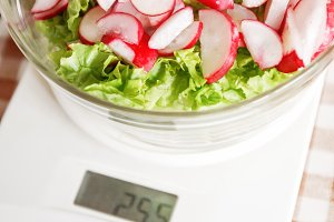 Dietary salad with radish and lettuc
