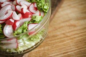 Vegetable vegan salad of wild garlic