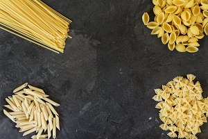 Dry pasta background. Different past