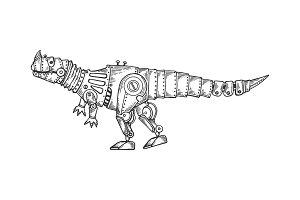 Mechanical dinosaur animal engraving
