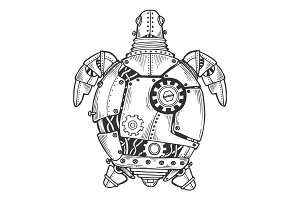 Mechanical turtle animal engraving