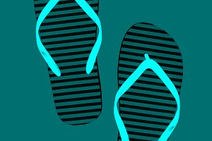 Striped rubber flip flops, isolated.