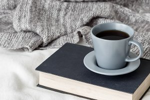 Lifestyle photo with book and coffee