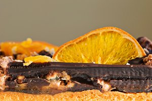 Side view of a sliced cake
