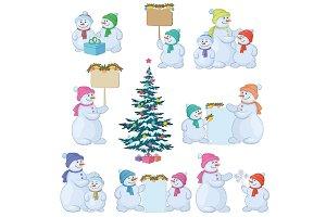 Set snowman and Christmas tree