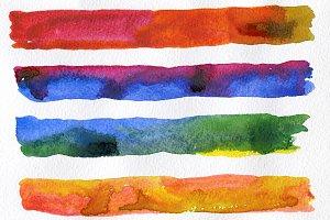 Set of watercolor brush strokes