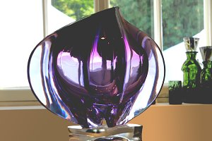 A large transparent violet drop