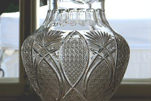 A large transparent vase