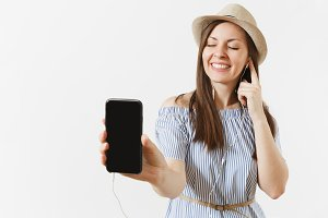 Young fun happy woman listening musi