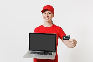 Delivery concept. Woman in red cap,