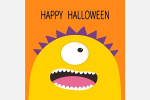 Happy Halloween. Monster yellow head