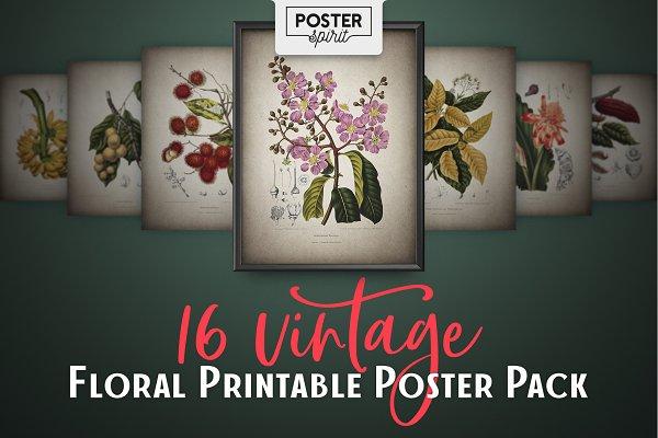 16 Vintage Floral Botanical Posters
