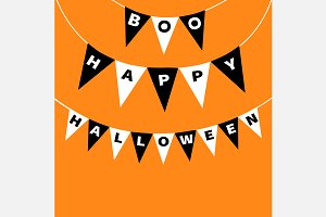 Bunting flags pack Boo Hallowen