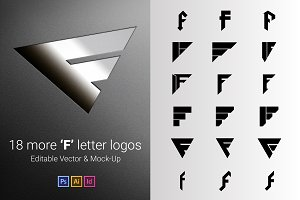 18 F Letter Logos - Vector & Mock-Up