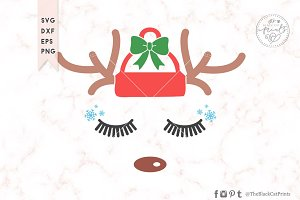 Christmas Reindeer Face SVG DXF EPS