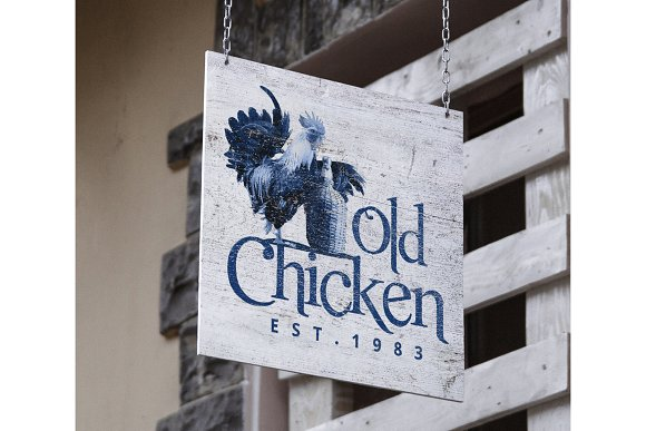 Old Chicken Logo Template in Logo Templates - product preview 3
