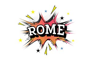 Rome Comic Text in Pop Art Style.