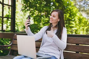 Young girl doing selfie on mobile ph