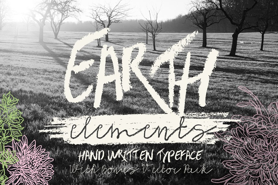 Earth Elements Typeface for drawing