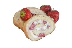 Biscuit roll with cream and fresh st
