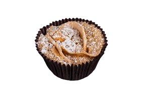Three apple cupcake muffin on a wood
