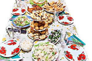 holiday table with dishes, with diff
