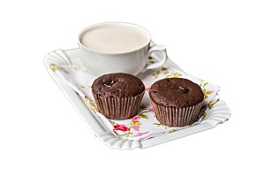 chocolate muffins, cakes and cup of
