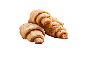 sand crescent rolls on isolated